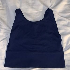 Navy blue ribbed crop/sports bra